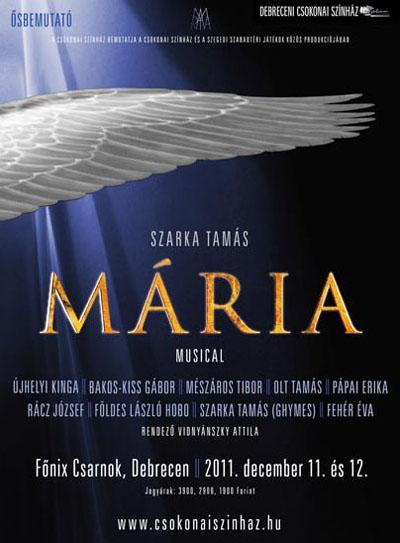 A Mária musical bemutatójának plakátja