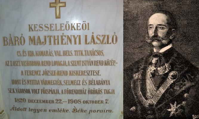 Báró Majtényi László márvány sírmeléke. Csáky K. felv