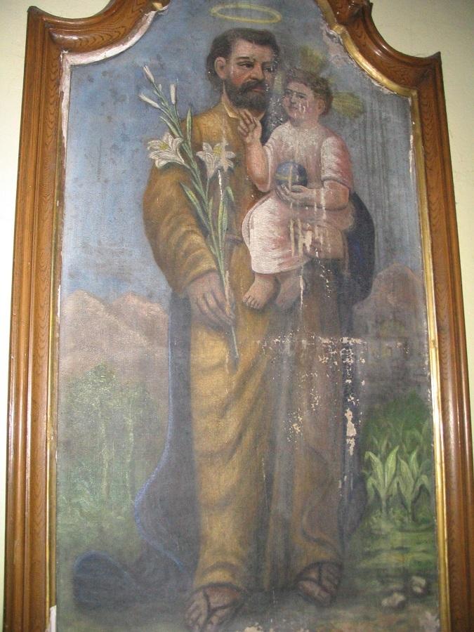 Szent József-festmény a kisgyarmati templomban. Csáky K. fel