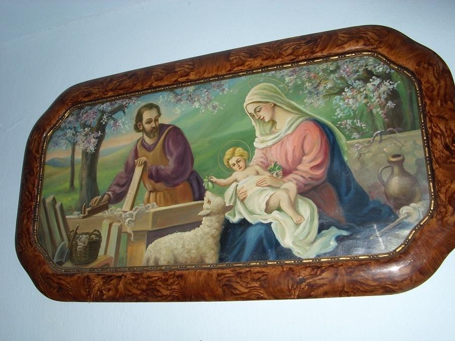 Szt. József a bényi kézművesház egyik olajnyomatos képén. Csáky K. felv.
