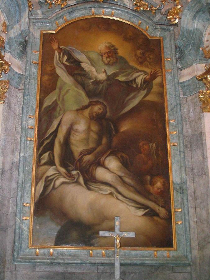 Az ipolyvarbói templom főoltárának képe a szerző felvételén