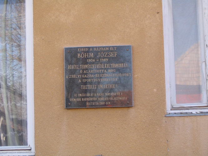 Böhm József emléktáblája egykori házán