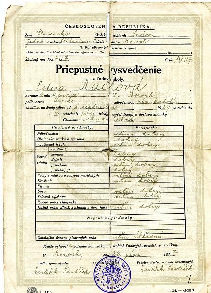 Bizonyítvány bori szlovák iskolájából 1937-ből