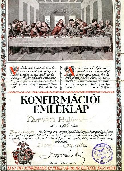 Konfirmációs Emléklap 1925-ből Csáky Károly reprodukciója