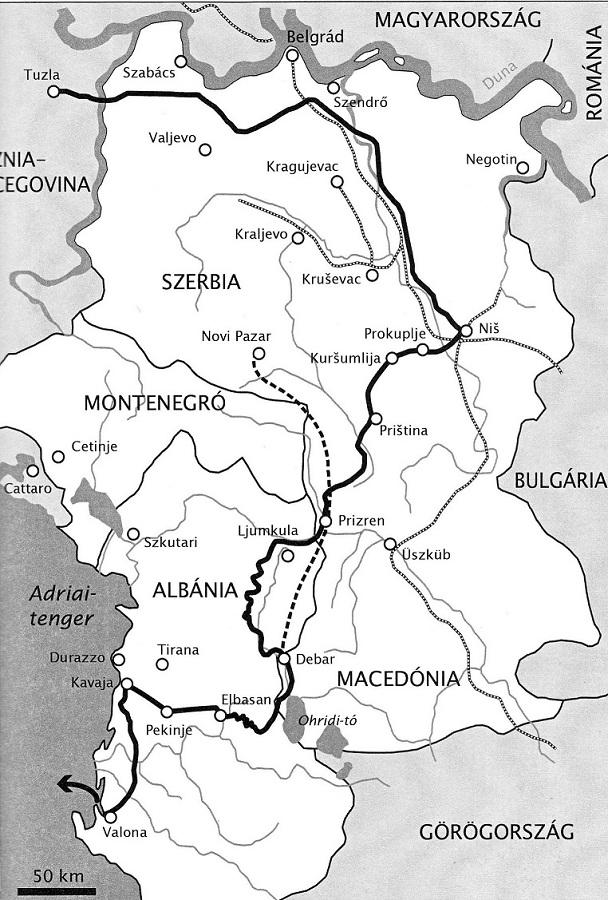 A halálmenet Szerbián át
