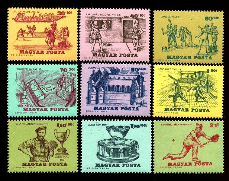 A tenisz történetét bemutató Cziglényi bélyegek