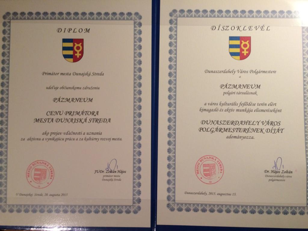 A díj oklevele