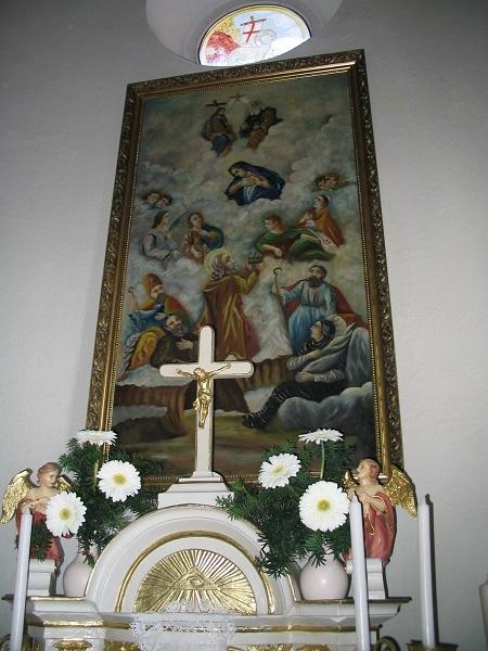 A templomplom Minedenszentek-oltárképén Csáky Károly felvételén
