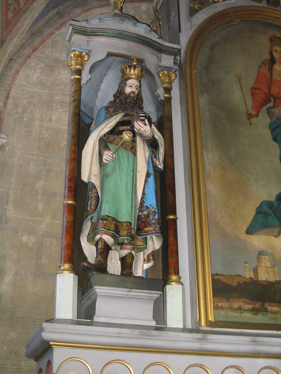 Szent István  bagycsalomjai szobra Csáky Károly felvételén