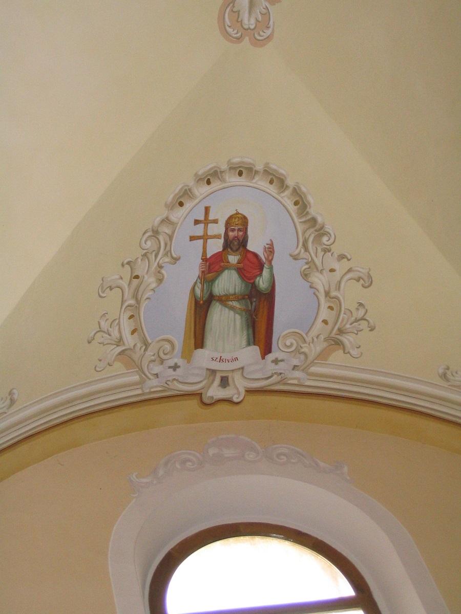 Szent István freskója az inámi templomban  Csáky Károly felvételén