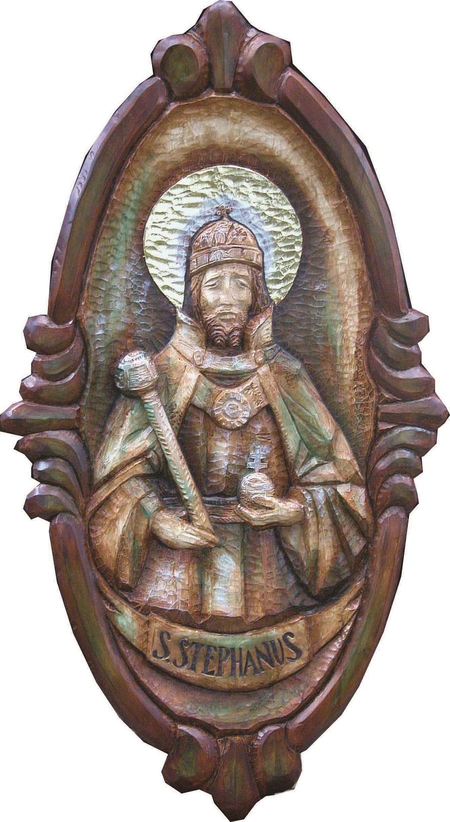 Szent  István az ipolybalogi templom mennyezeti kazettáján