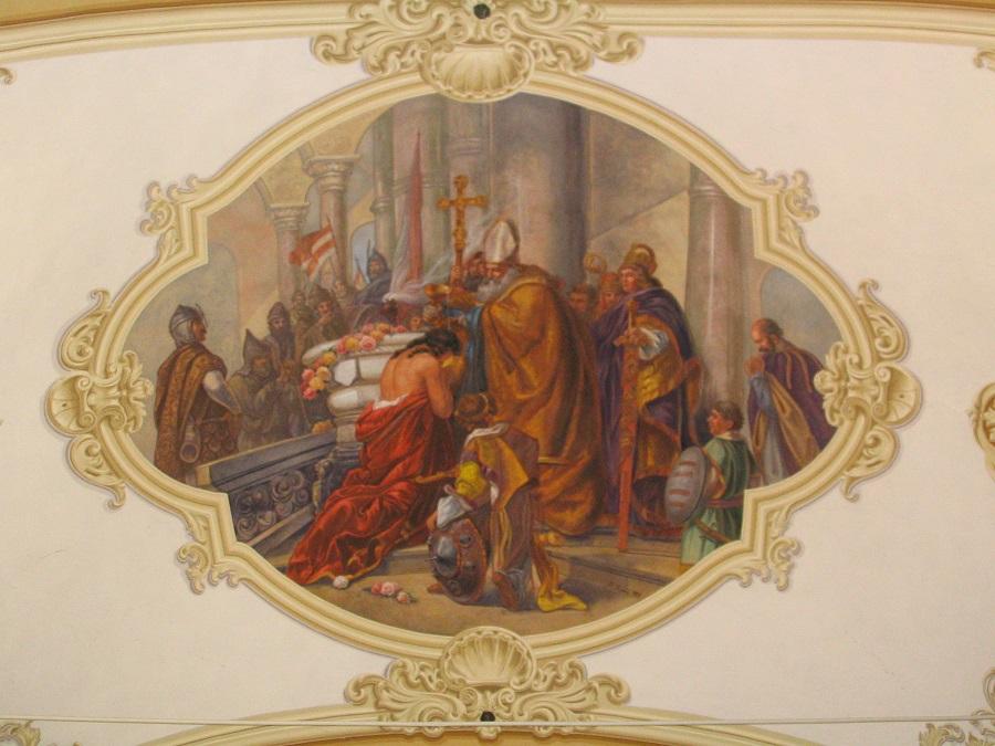 Vajk megkerezstelése - Szentélyfreskó Csáky Károly felvételén
