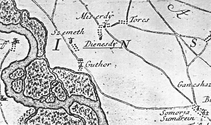 Egy korabeli térképen Szemeth Diesdy Miserdy Guthor és Torcs