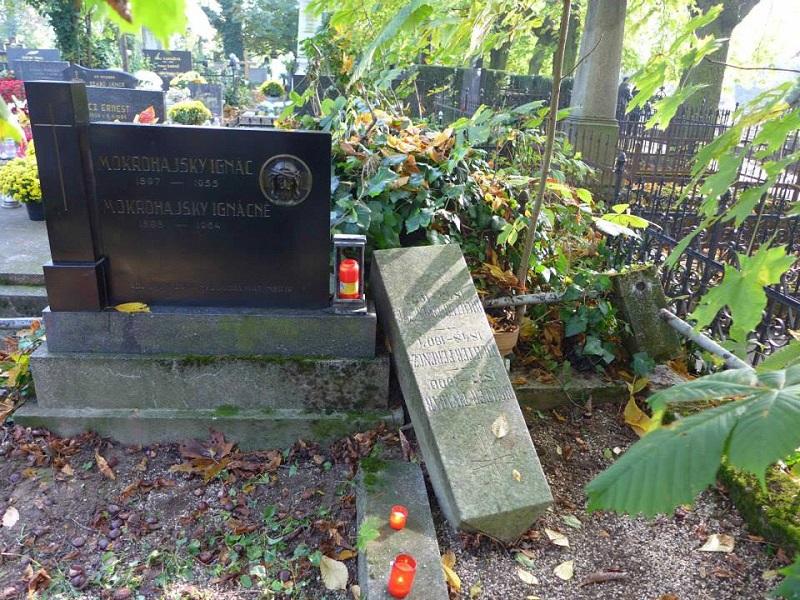 Elhanyagotl sírhely ledöntött oszloppal