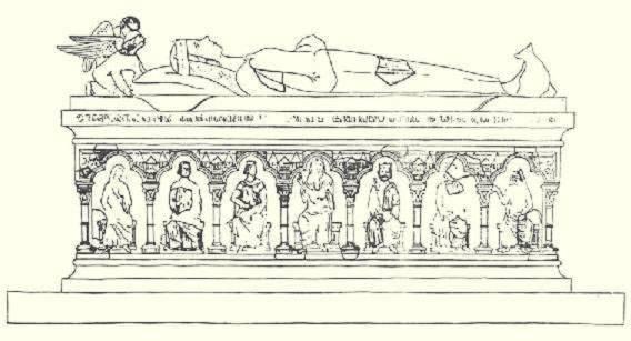 Gertrúd királyné rekonstruált márványszarkofágja a pilisszentkereszti ciszterci apátság területén talált szarkofág-töredékek alapján Gerevich László feltárása