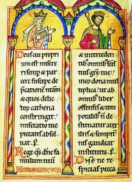 II. András és Gertrúd egy szászországi zsoltároskönyvben 1211 körül