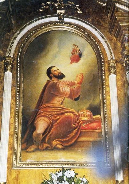 Szent István a felsőtúri templom mellékoltárán Csáky Károly felvételén