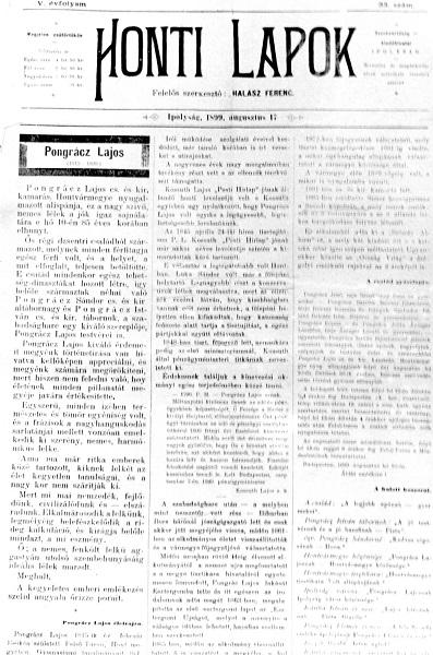 A Honti Lapok egyik száma a Pongrácz-nekrológgal