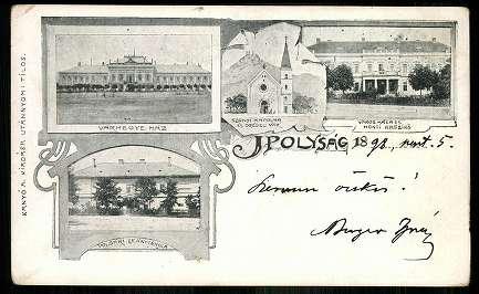 Ipolysági képeslap ezernyolcszázkilencvenyolcból a Kaszinó épületével