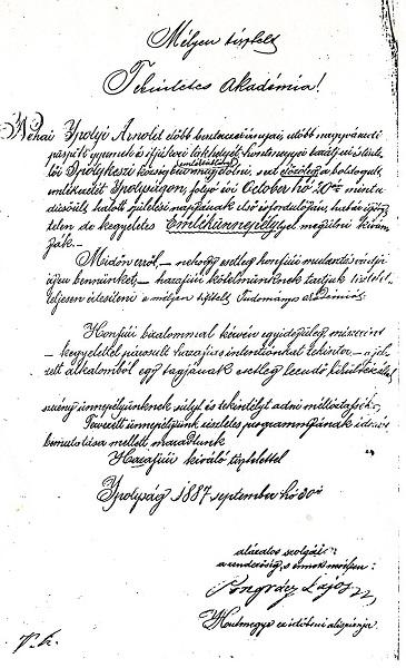 Pongrácz Lajos kézírása 1887-ből a szerző reprodukcióján