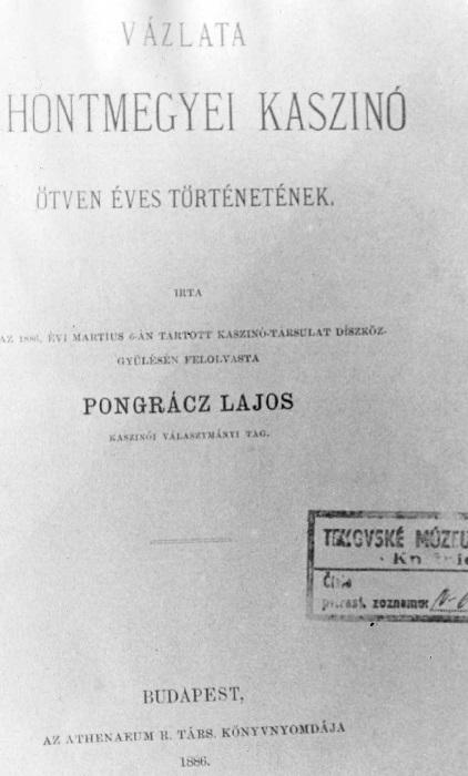 Pongrácz Lajos kis könyve a Kaszinó félévszázados történetéről