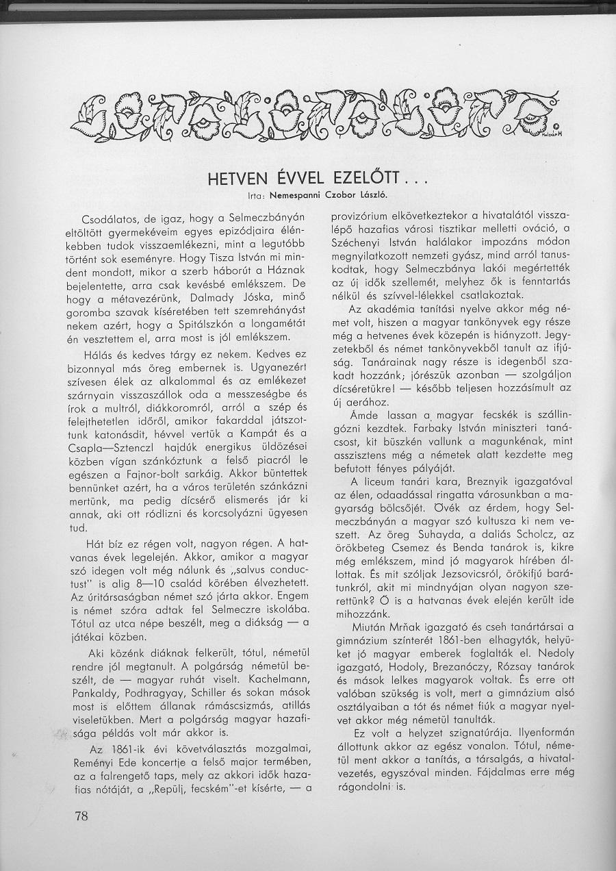 Czobor írása a selmecbányaiak évkönyvében 1936