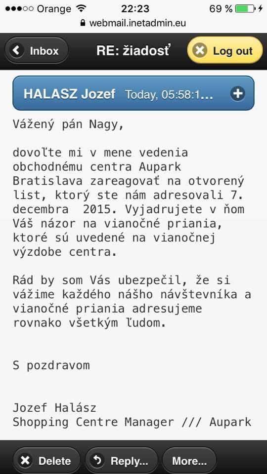 A menedzser szlovák válaszlevele