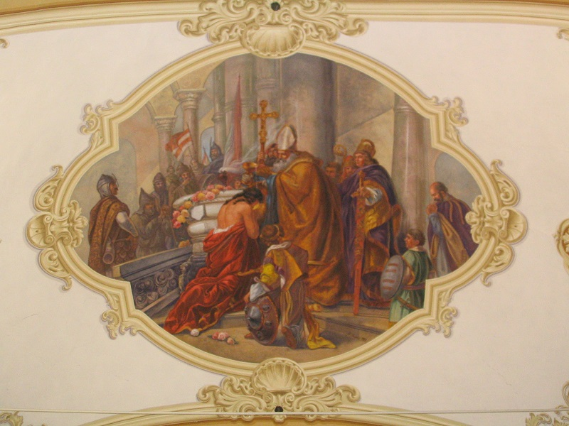 Vajk megkeresztelése a templom szentélyfreskóján Csáky Károly felvételén