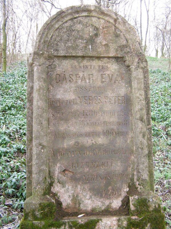 Gáspár Éva síremléke Nagycsalomján Pölhös Vendel felvételén