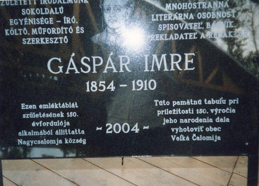 Gáspár Imre emléktáblája Nagycsalomján Csáky Károly felvételén
