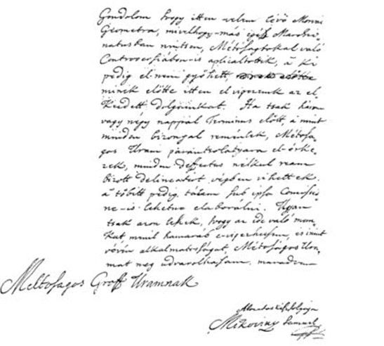 Mikovíny Sámuel kézírása Csáky Károly reprodukcióján