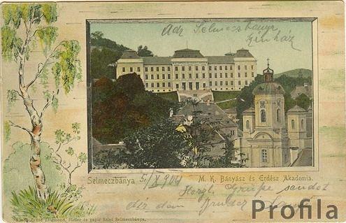 Selmecbányai Akadémia  épülete egy régi képeslapon. Világháló
