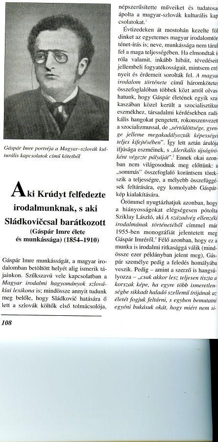 Tanulmány Gáspár Imréről a szerző egyik kötetében