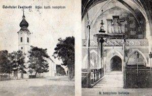 Zselízi képeslap a korabeli orgonával - Kanyuk József gyűjtése