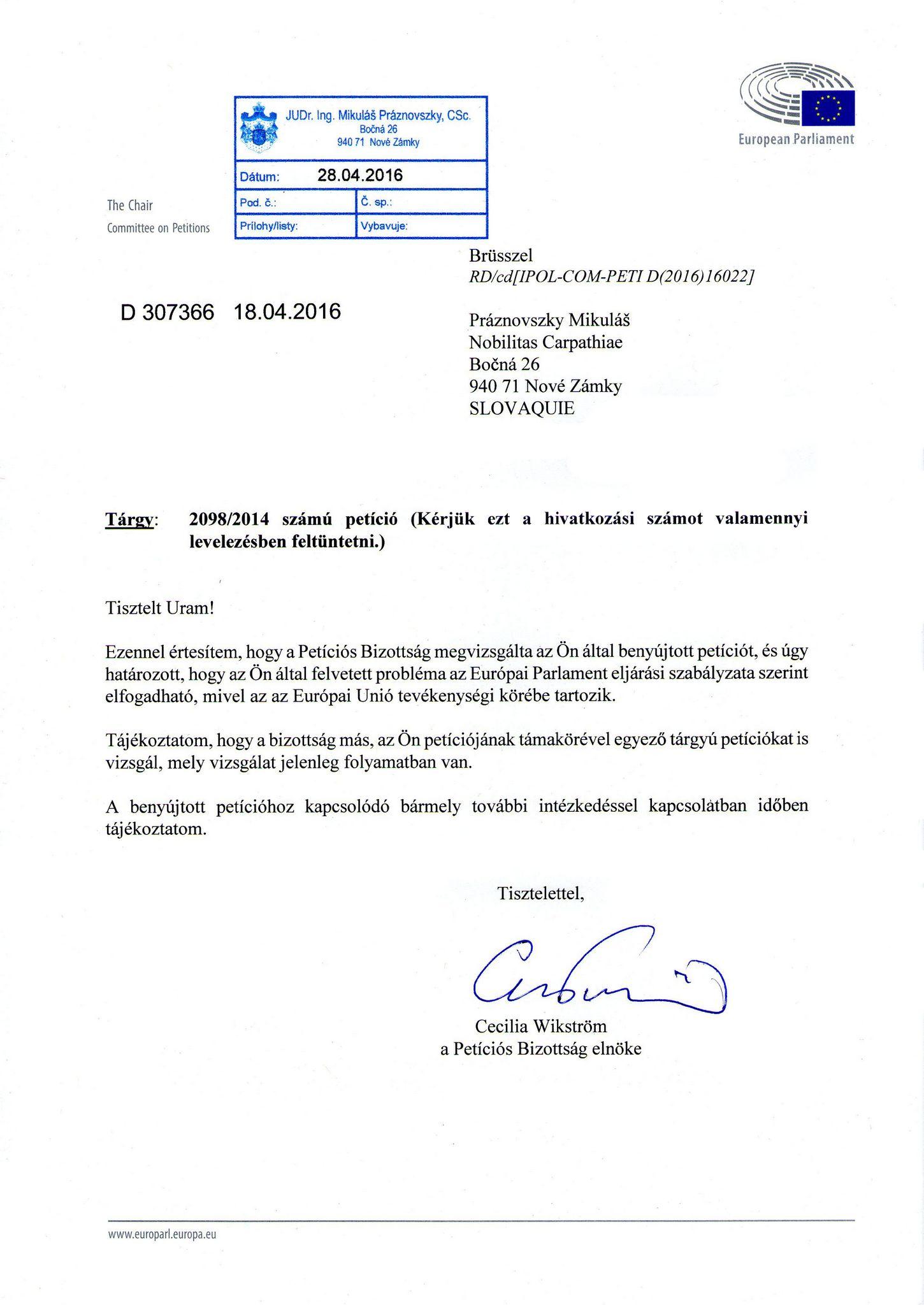 Az EP Petíciós Bizottsága elnökének levele (Forrás: Práznovszky Miklós)