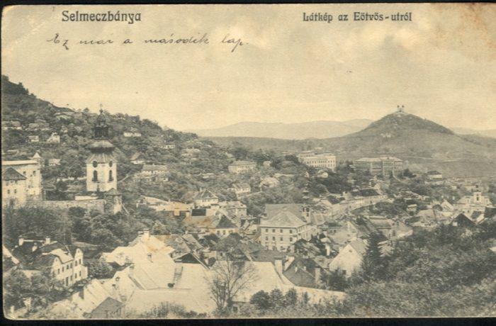 Selmeci látképe az óvárral egy régi képeslapon