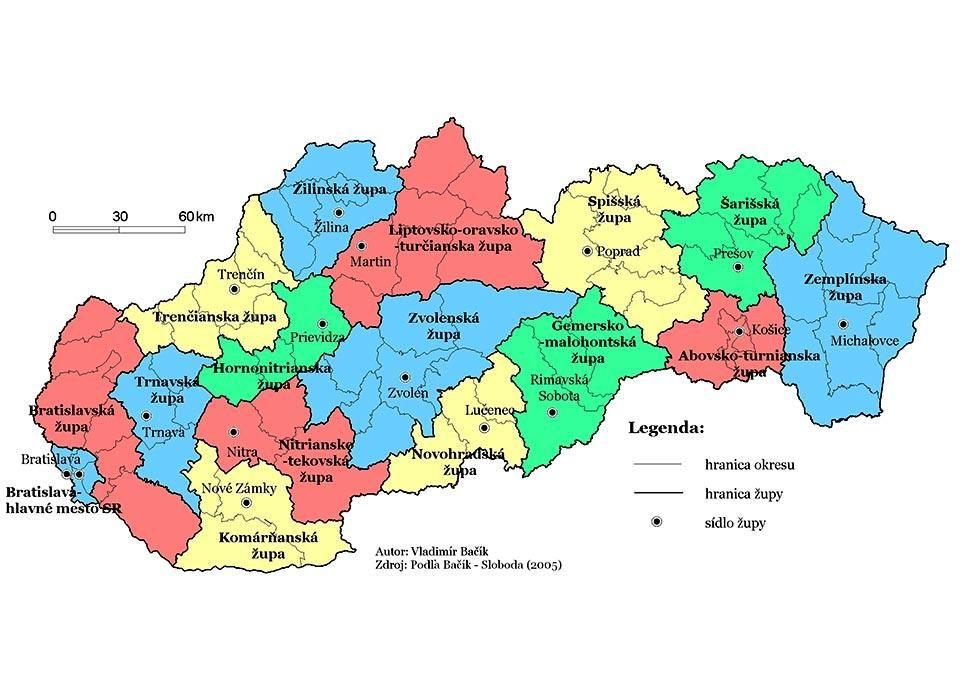 A 2005-ös elképzelés Szlovákia 16 régióra (megyére) való felosztásáról. (Szerző: Vladimír Bačík)