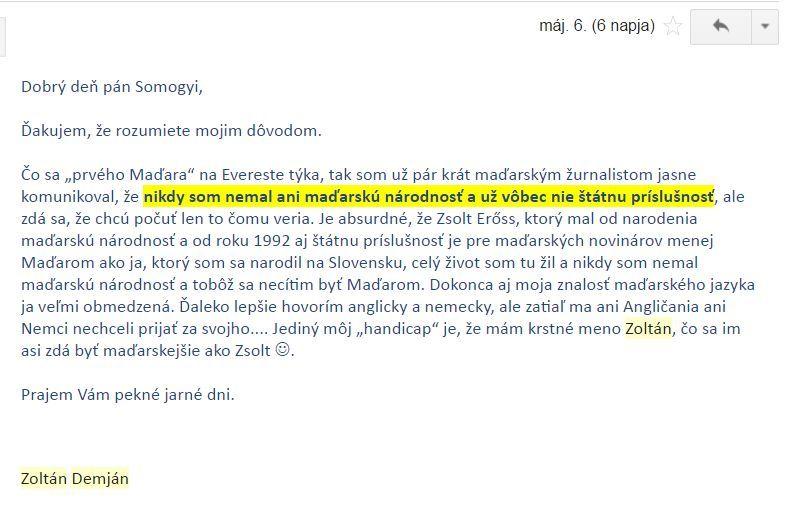 Demján Zoltán szlovák nyelvű levele.