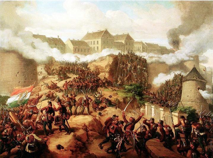 Jakobey Károly festménye Buda ostromáról