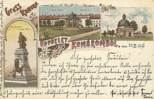 A Klapka-szobor első rajzos ábrázolása komáromi képeslapon 1898-ból