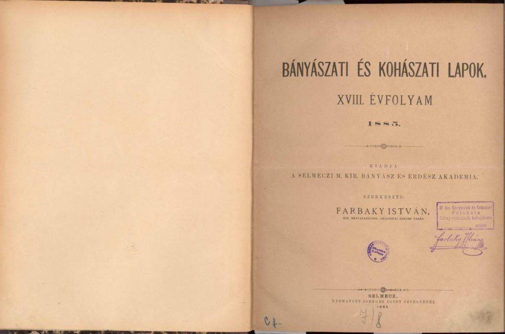 A Farbaky István által szerkesztett selmeci szaklap (Fotó: bkl.uni-miskolc.hu)