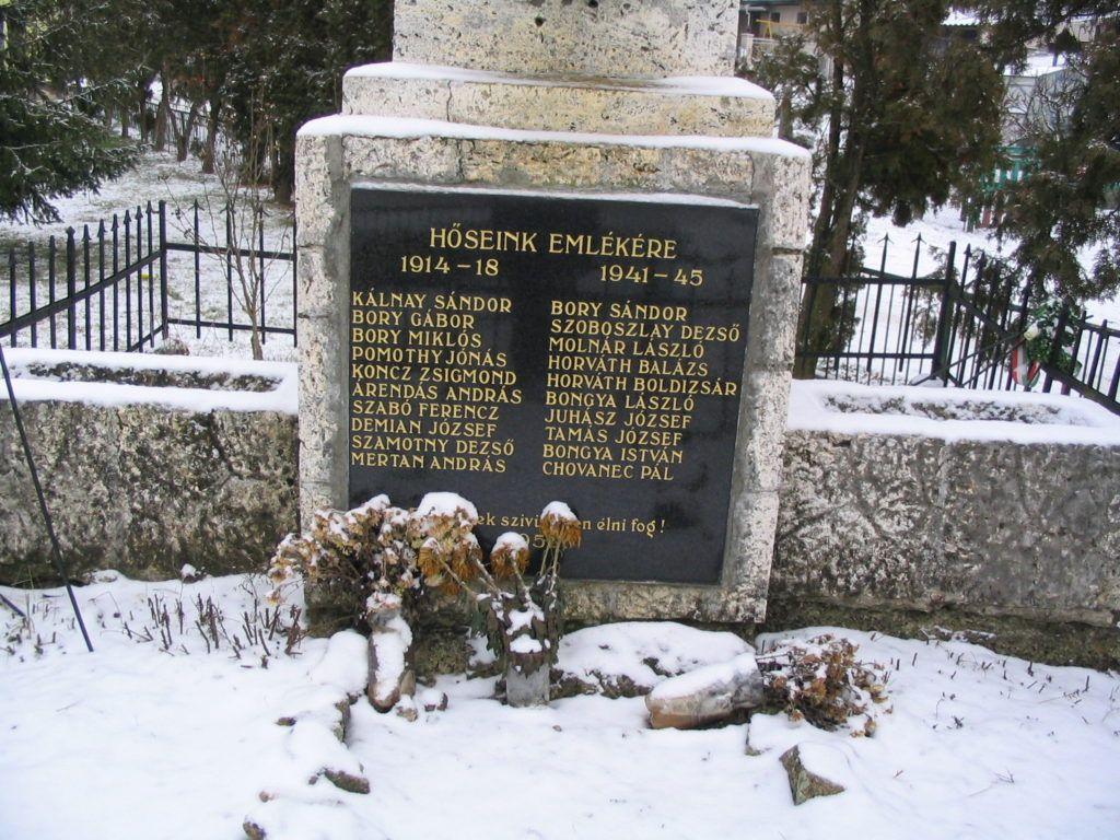 A hősök neve az emléktáblán Csáky Károly felvételén