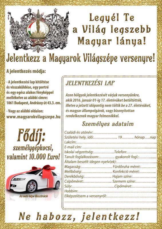 A Magyarok Világszépe jelentkezési lapja.