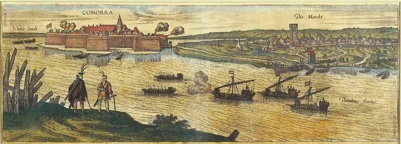 A vár és a város a Vág-Duna túlsó partjáról.