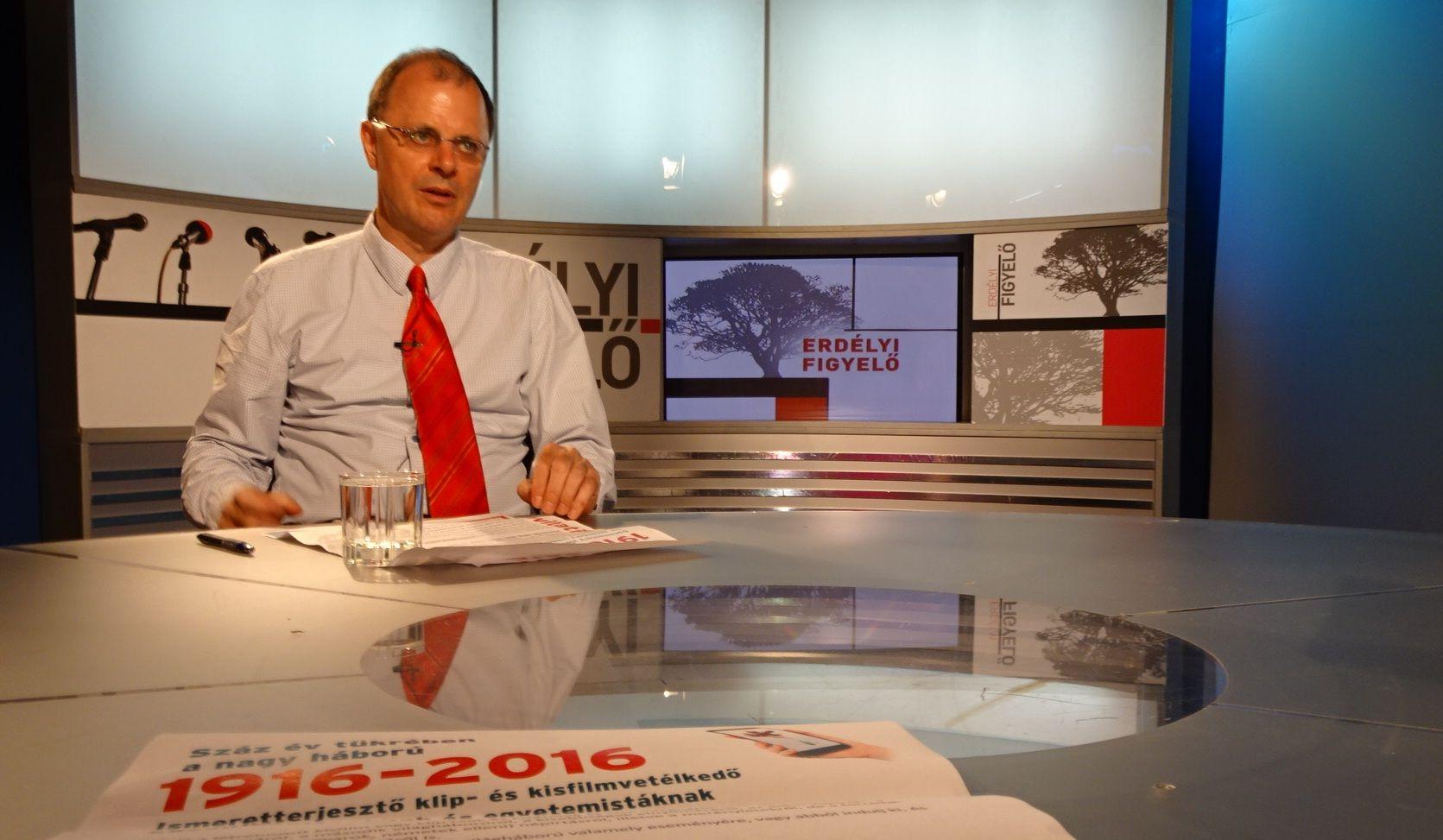 Gecse Géza a kolozsvári a tévében. Fotó: a szerző archívuma