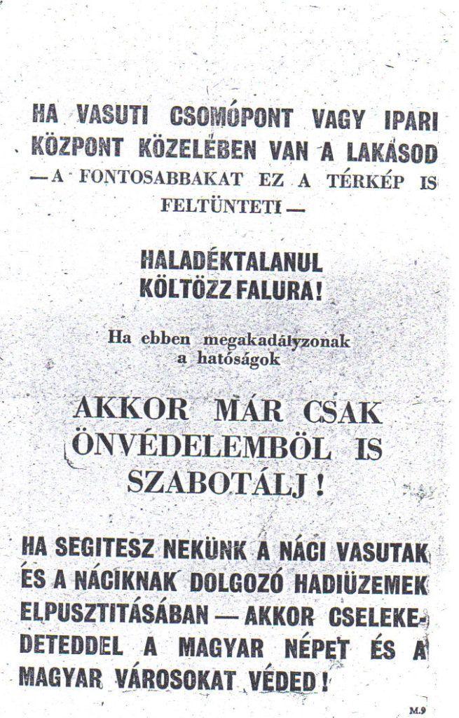 A szövetségesek magyar nyelvű röplapja