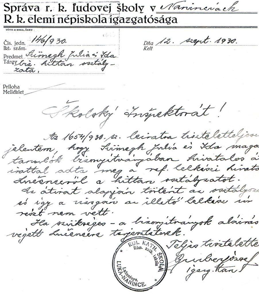 A lukanényei iskola igazgatójának levele 1930-ból. Csáky Károly repr._1