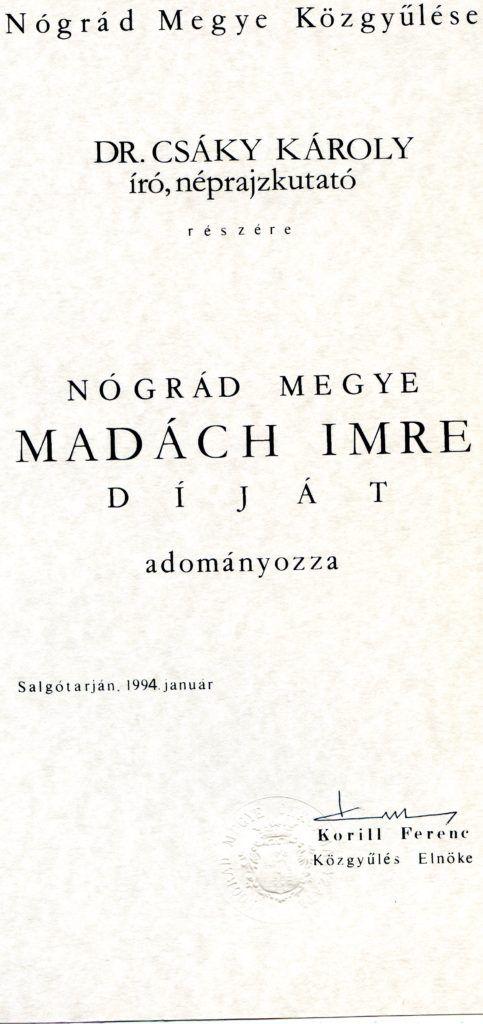 A szerző Madách-díja