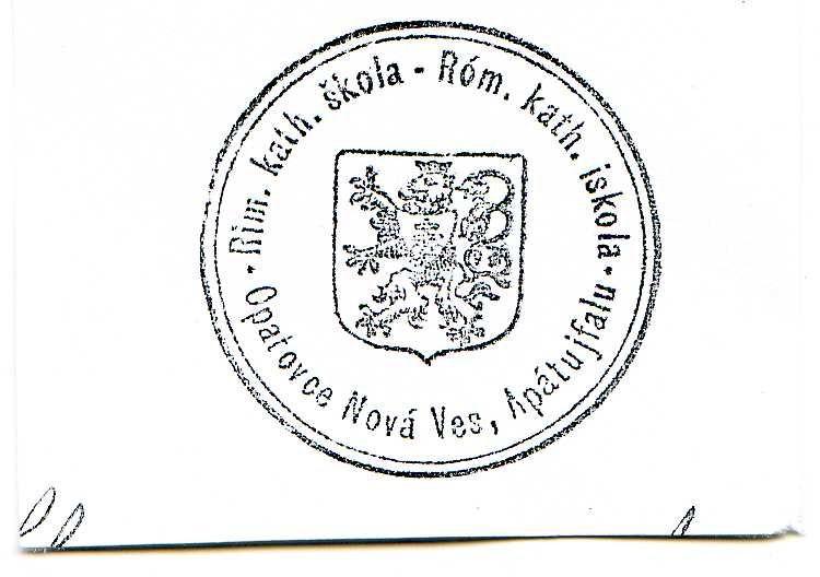 Az apátújfalusi róm. kat. iskola bélyegzője, 1926. Csáky Károly repr.