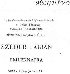 Meghívó a Szeder Fábián Emléknapra. Csáky Károly repr.